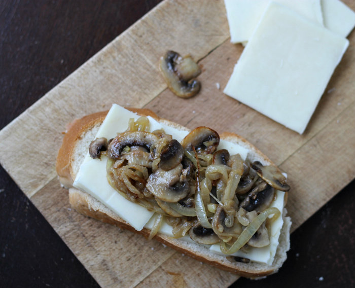 Grilled Cheese Sandwich with beer caramelized onions and mushrooms