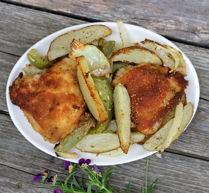 Baked Parmesan chicken and vegetables