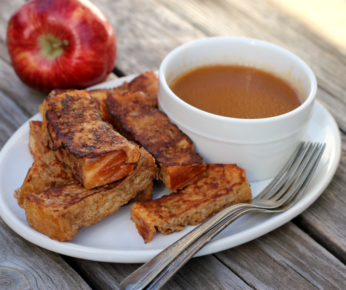 French toast stick w/ apple syrup