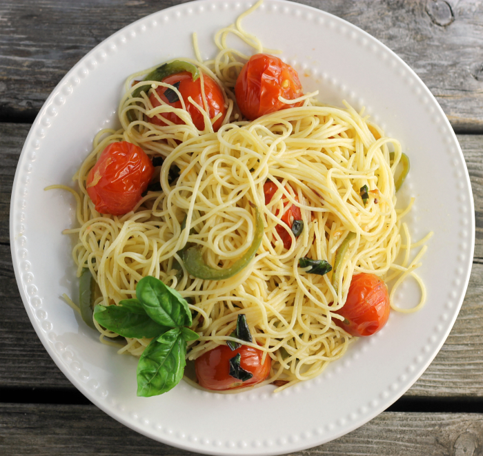 Cherry tomato basil angel hair pasta, a simple, but delicious meal by itself or add chicken or maybe a salad to make it complete.