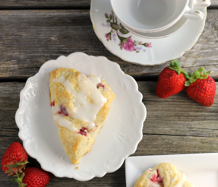 Strawberry Sour Cream Scones with Lemon Icing