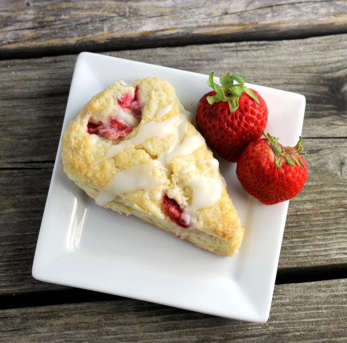 Strawberry Sour Cream Scones with Lemon Icing - Words of Deliciousness