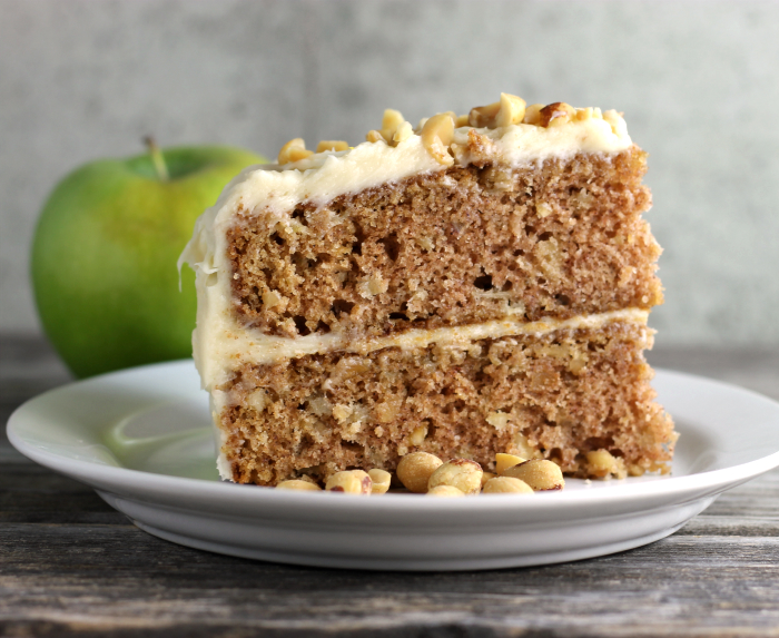 Apple Peanut Cake with Caramel Cream Cheese Frosting