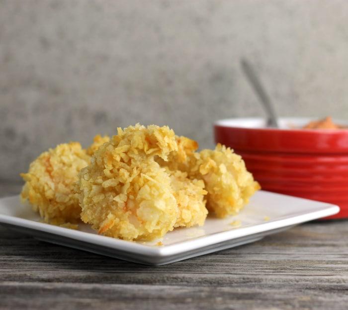 Crisp potato chip crusted shrimp