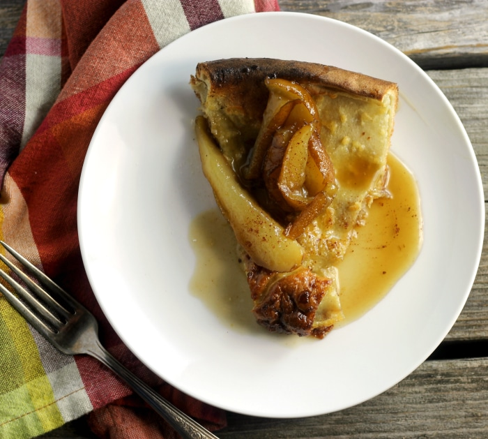 Easy to make Dutch Baby Pancakes with Caramelized Pears. Perfect for Brunch.