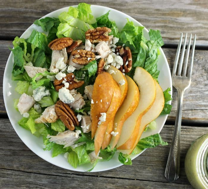 Chicken, Pear, and Blue Cheese Salad with Sweet Onion Dressing is a great salad for your lunch or dinner.