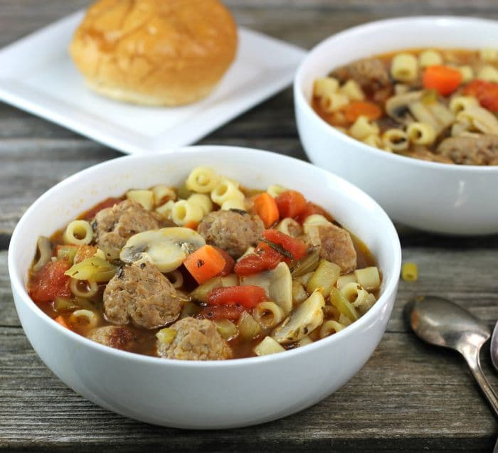Italian Meatball Soup a hearty soup filled with fun little Italian sausage meatballs, veggies, pasta, and a ton of flavor, the perfect comfort food for this time of year.