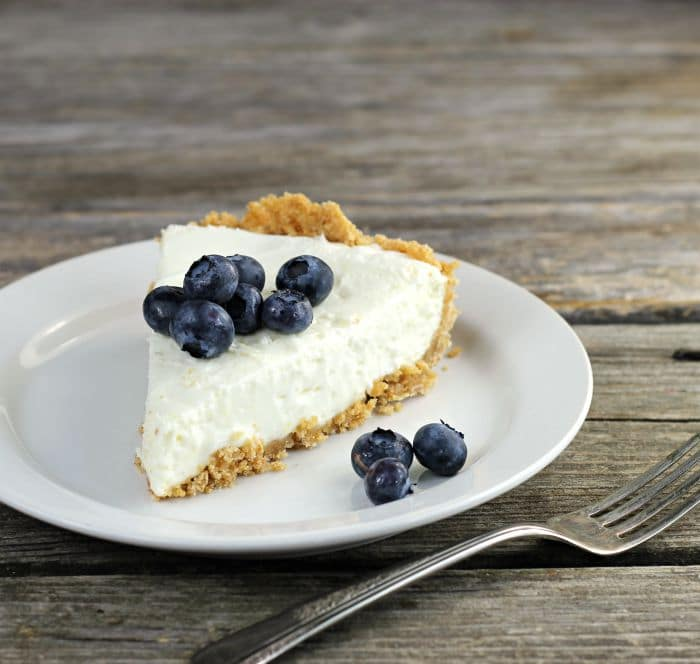 Lemon Cream Cheese Pie with blueberries