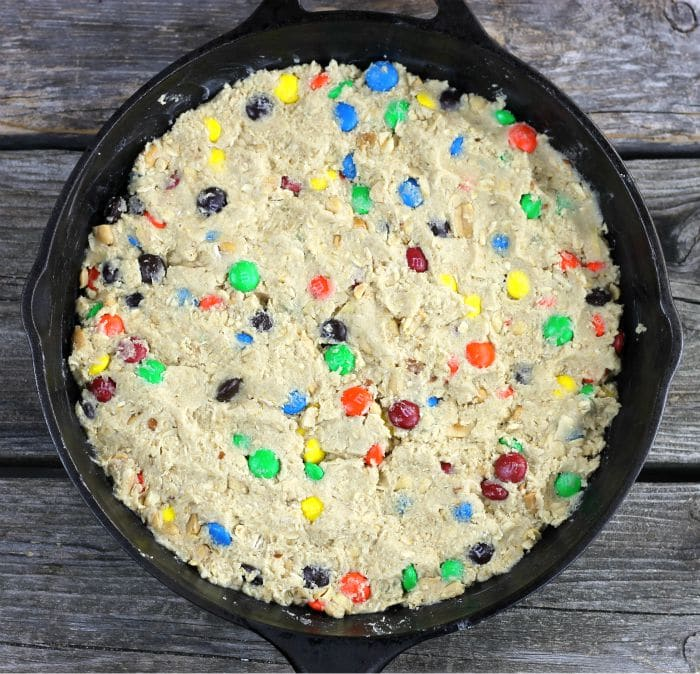 Oatmeal M&M Skillet Cookie