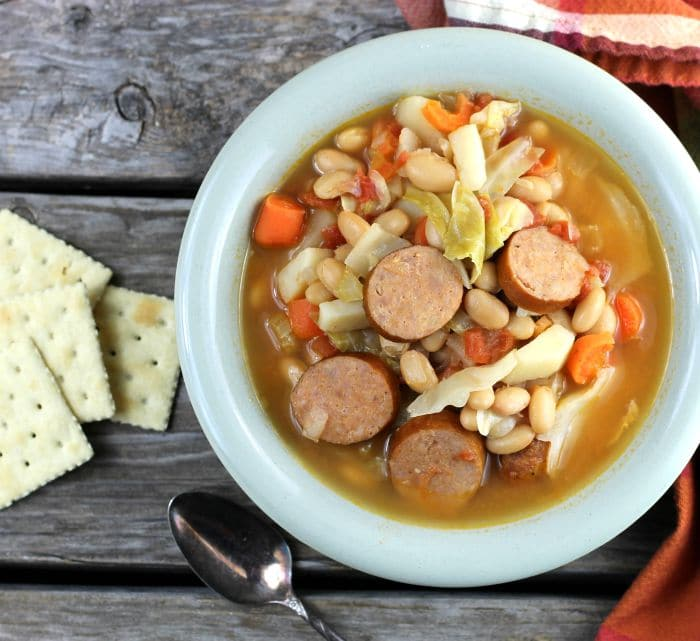 White Bean, Cabbage, and Andouille Soup