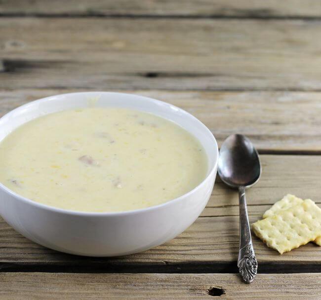 A side angle view of loaded potato soup