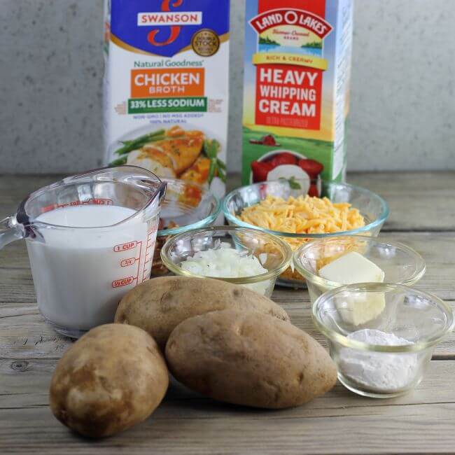 Ingredients for loaded baked potato soup.