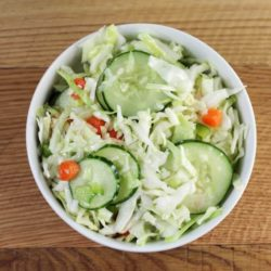 Overhead view of a bowl of salad.