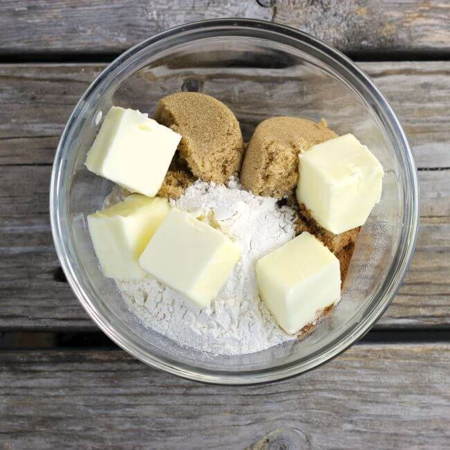 Brown sugar, flour and butter in a bowl for the topping.