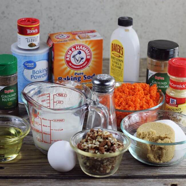 Ingredients for carrot muffins.