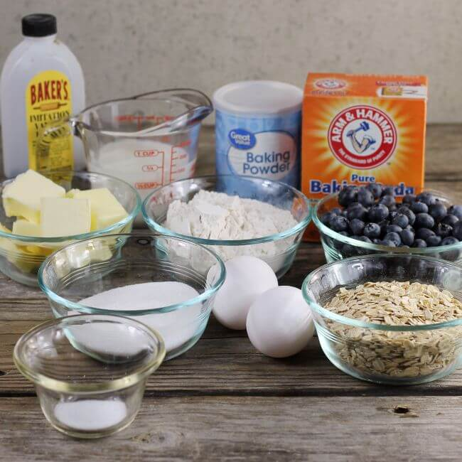 Ingredients for blueberry oat scones.