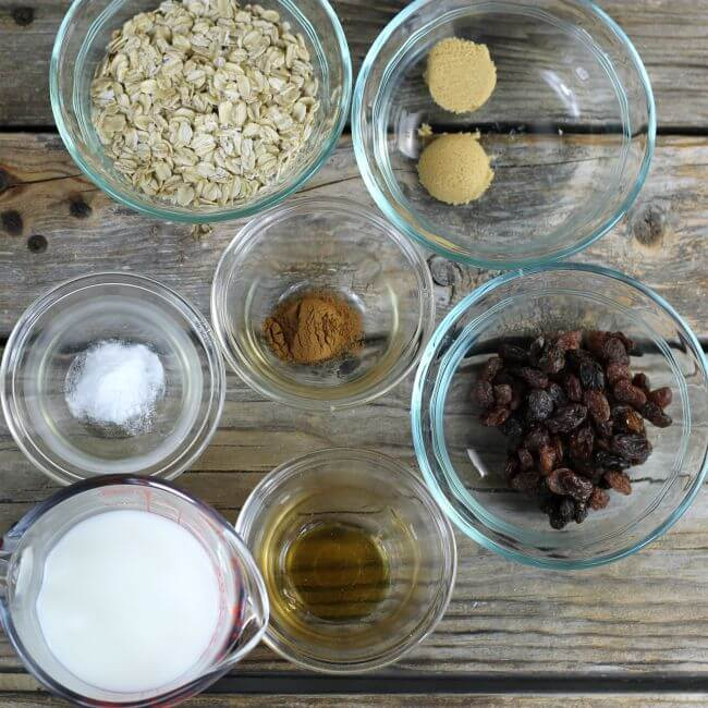 Ingredients for baked oatmeal.