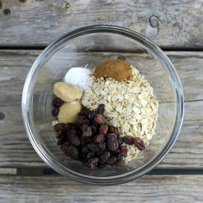 Dry ingredients in a bowl for baked oatmeal.