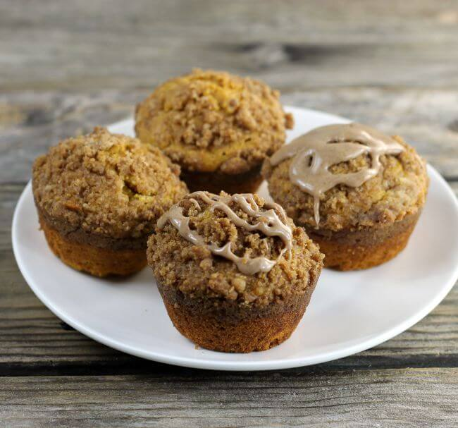 Side view of a plate of muffins.