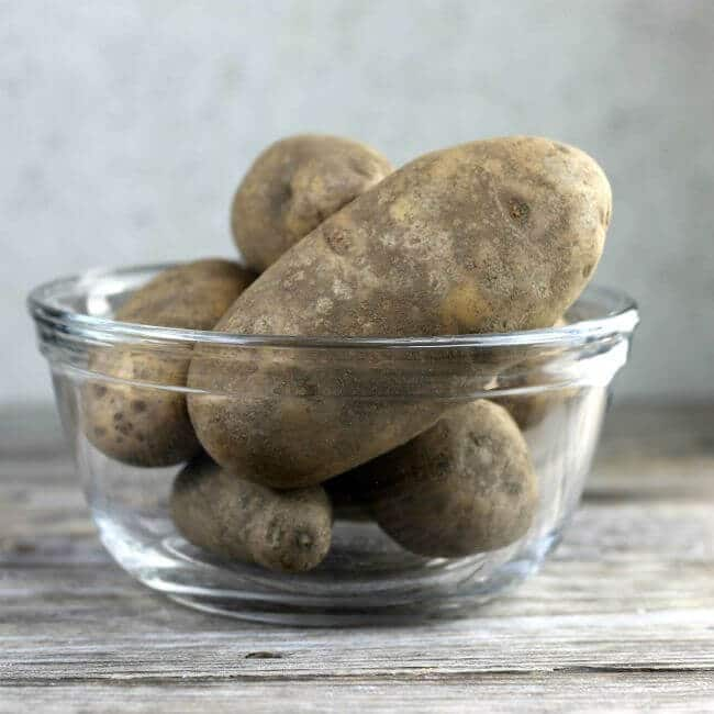 Potatoes in a glass bowl.