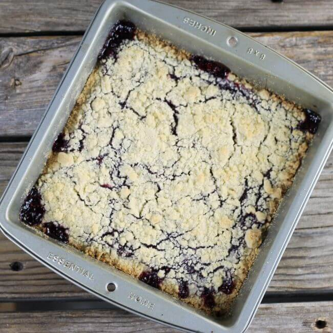 Baked shortbread jam bars in a baking pan.