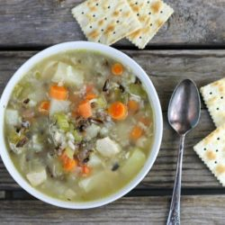 Pinterest picture of chicken and wild rice soup.