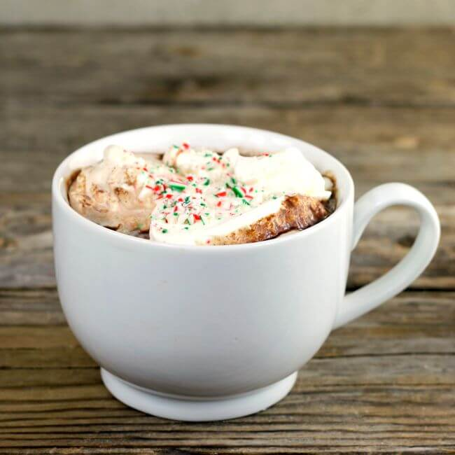 A side view of a cup of hot chocolate with whipped cream.