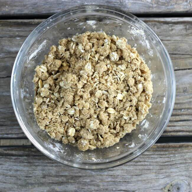 Crumble topping in a bowl.