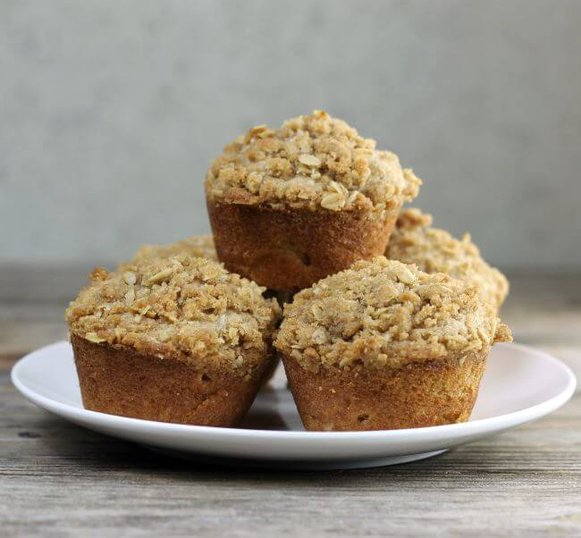 Muffins piled on a plate.