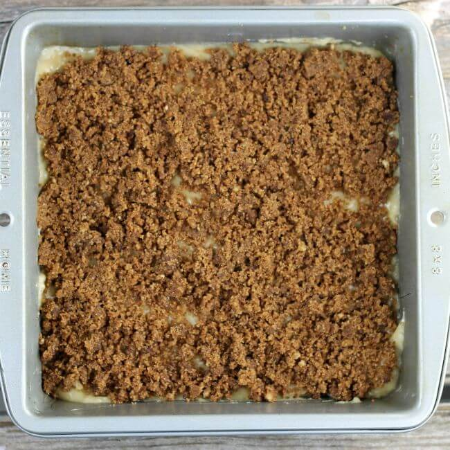 The crumb topping added to the top of the coffee cake batter.