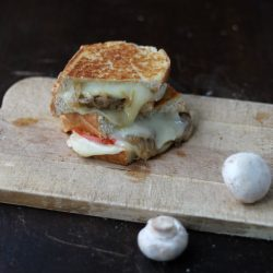 Grilled cheese with beer caramelized onion and mushrooms