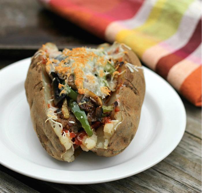 Pizza stuffed baked potato
