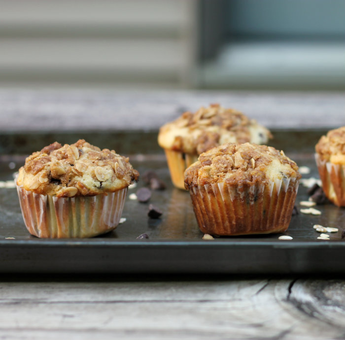 Chocolate chip granola topped muffins
