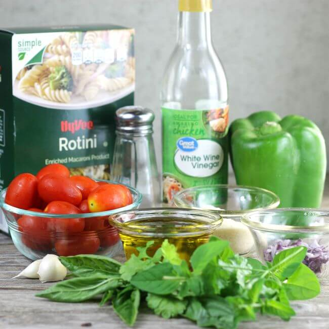 Ingredients to make a pasta salad.