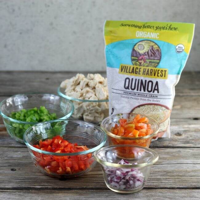 Ingredients for quinoa salad on a table.