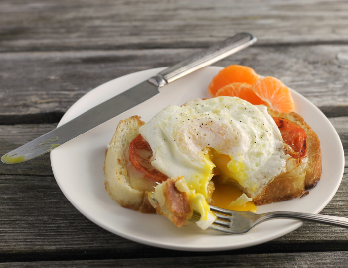 Open Face Cheese Tomato Egg Sandwich