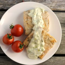 Dill Sauce Topped Broiled Salmon