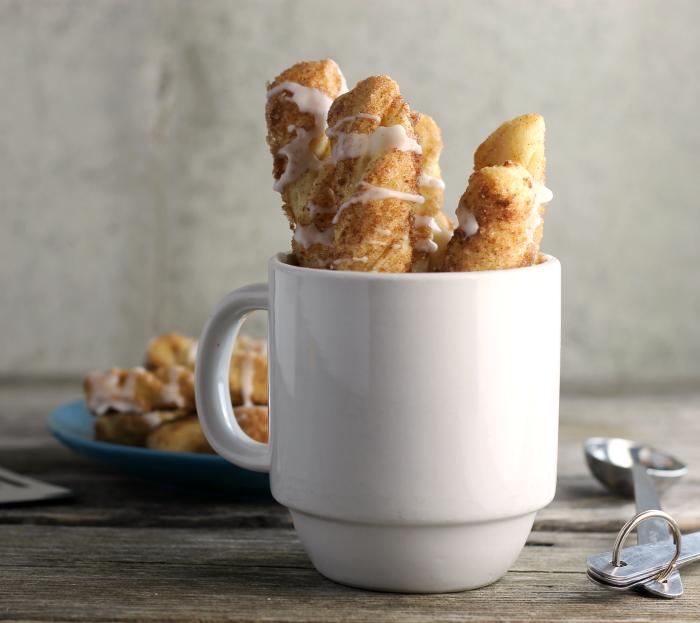 Cinnamon Sugar Twists With Vanilla Icing