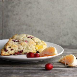 Moist tender cranberry cream cheese scone