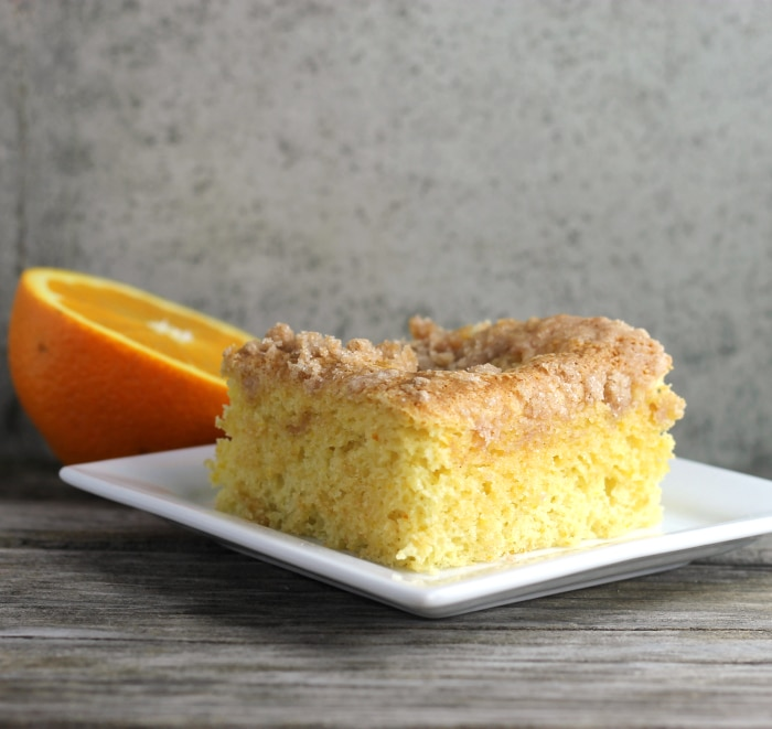 Orange Cream Cheese Coffee Cake made with oranges and a cinnamon crumble