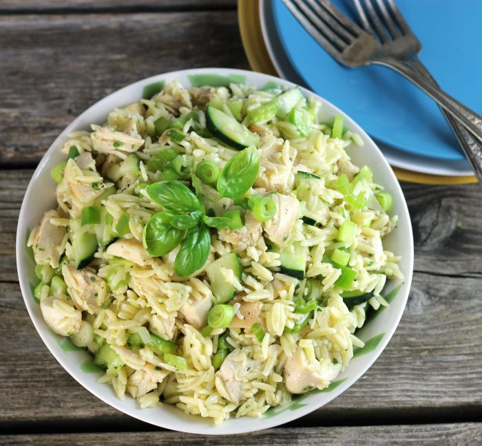 Easy chicken orzo salad is a meal all by itself includes fresh herbs from the garden.