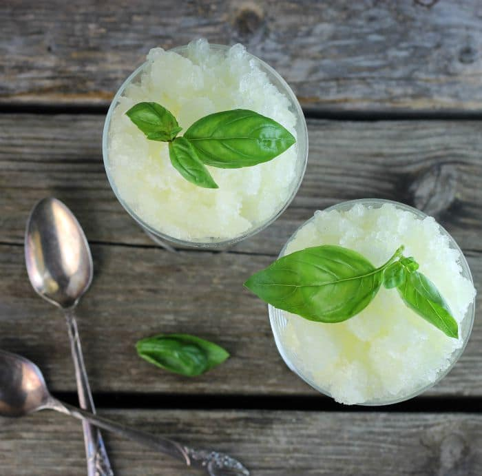 Lemon Basil Granita a cool light dessert which features a burst of lemon flavor and a taste of basil perfect for a ho