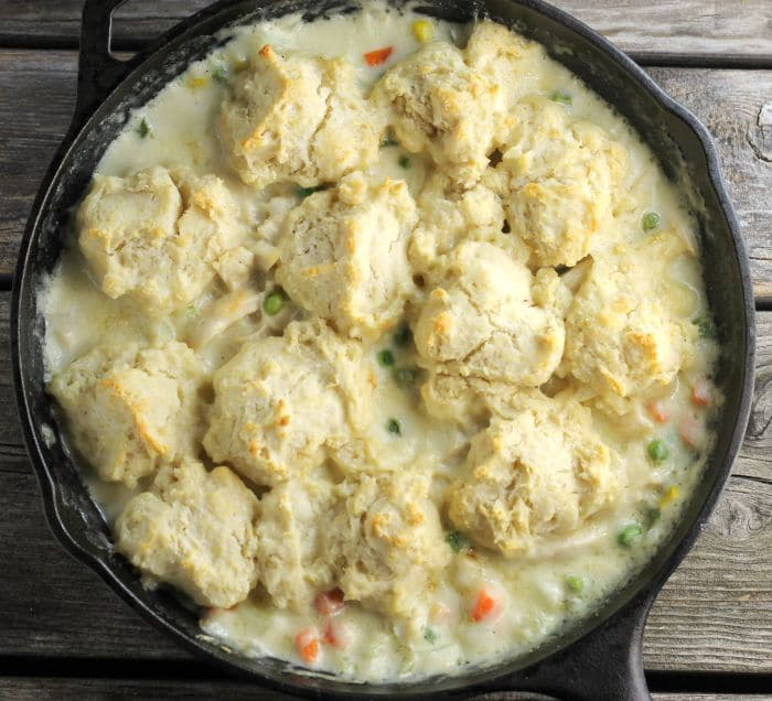 Quick Chicken Pot Pie with Biscuits is made with frozen vegetables drop biscuits a quick and easy one skillet meal for any day of the week.