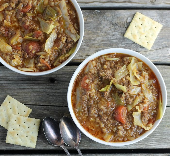 Cabbage Roll Soup a hearty and delicious soup made with ground beef, tomatoes, rice, and of course cabbage.