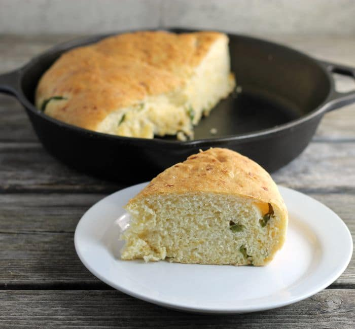 Jalapeno Cheddar Bread is a soft bread made with cheddar cheese and a touch of heat from the jalapeno peppers.
