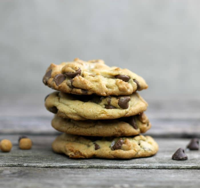 Chocolate Chip Salted Caramel Cookies chewy cookies that are loaded with chocolate chip, caramel bits and topped with coarse sea salt.