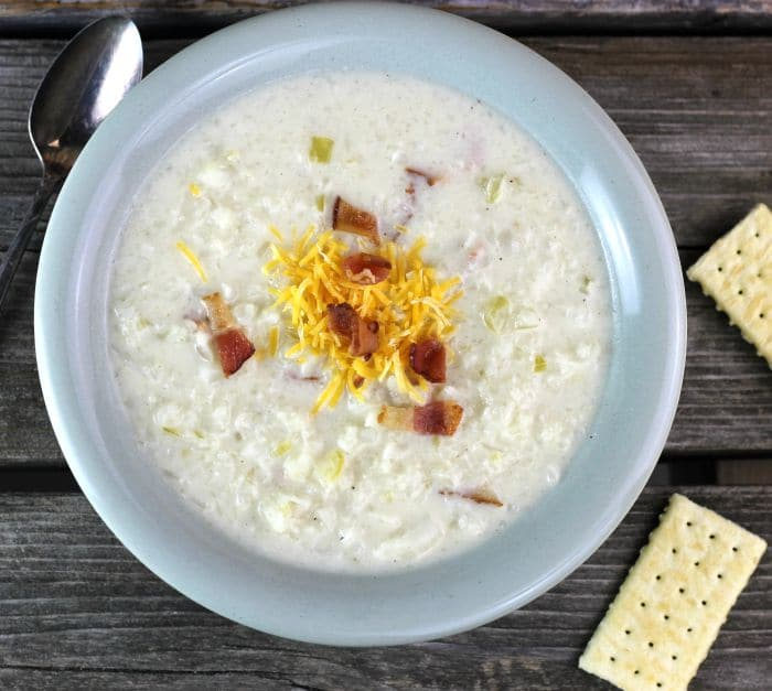 Cream of Cauliflower soup is a rich soup, it is a delicious way to start a meal or as a lunch served with your favorite sandwich.