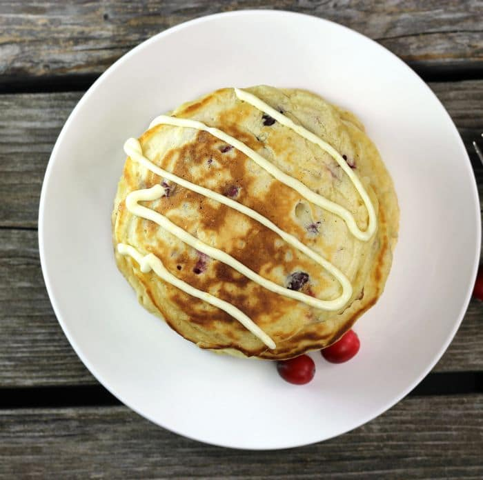 Cranberry Pancakes with Orange Cream Cheese Icing