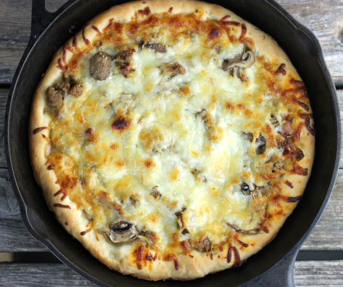 Skillet Sausage and Mushroom Pizza