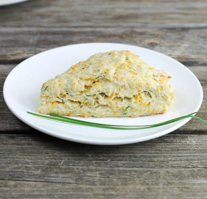 Cheddar Chive Scones these savory scones come together quickly and are delicious with eggs and bacon or just by themselves.